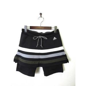 【中古】アディダス adidas スカート ショート タイツ スパッツ スカッツ CLIMACOOL OT XL 黒 ブラック 美品 国内正規品 スポーツウエア ランニング レディース