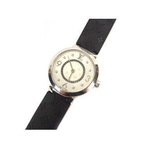 ルイヴィトン LOUIS VUITTON タンブールスリム モノグラムPM 腕時計 クォーツ ウォッチ 8Pダイヤ ラバーベルト Q12MG シルバー 黒【中古】【ベクトル 古着】|vectorpremium