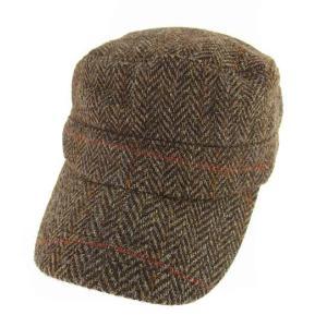 【中古】ハリスツイード Harris Tweed キャスケット ワークキャップ 帽子 ヘリンボーン ウール 起毛 チェック バックゴム ブラウン系 茶【ベクトル 古着】