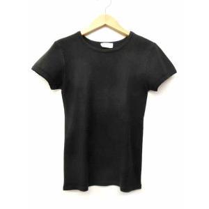 アニエスベー agnes b. カットソー 半袖 クルーネック ニットライク Tシャツ 無地 シンプル 黒 ブラック S70040 レディース【中古】【ベクトル 古着】