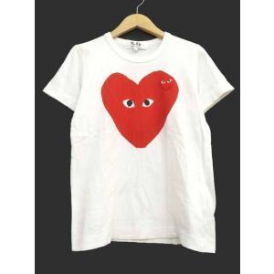 プレイコムデギャルソン PLAY COMME des GARCONS Tシャツ ダブル ハートロゴ カットソー 半袖 クルーネック S 白 ホワイト S72035 レディース【ベクトル 古着】|vectorpremium