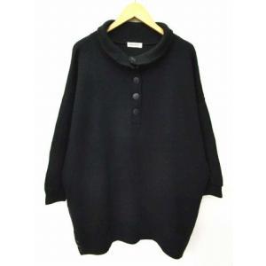 PIMPERNEL ニット ドルマン セーター ワイド ルーズ ビッグ ゆったり 大きいサイズ トップス チュニック 無地 長袖 黒 ブラック B78191 レディース|vectorpremium