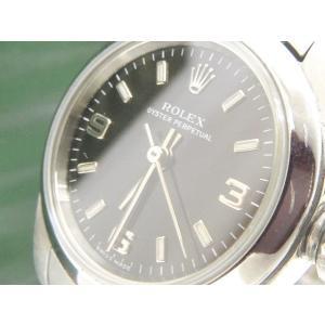 ロレックス ROLEX 腕時計 オイスターパーペチュアル 76080 Y番 3針 自動巻き ステンレス シルバー 黒 ブラック C81656 レディース【中古】【ベクトル 古着】|vectorpremium