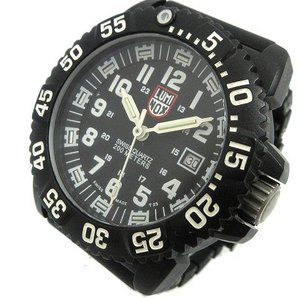【中古】ルミノックス LUMINOX 腕時計 NAVY SEAL COLORMARK 3050/3950 ウルトラライトカーボン クォーツ Ref.3051 ダイバー ウォッチ 黒 ブラック K11710 メンズ|vectorpremium