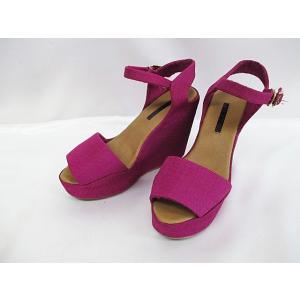 フレイアイディー FRAY I.D サンダル パンプス 38 24cm 紫 パープル 厚底 ウエッジソール キャンバス 婦人靴 D2370 レディース【中古】【ベクトル 古着】