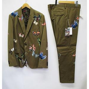 未使用品 バレンチノ VALENTINO スーツ 56 ベージュ パピヨン バタフライ 蝶刺繍 シングル 2ボタン 総裏 預 D3726 メンズ【中古】【ベクトル 古着】