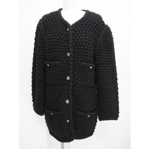 091885d4a5de シャネル CHANEL 長袖 ジャケット ニット セーター カーディガン 40 ブラック 黒系 毛 ウール イタリア製 かのこ編み レディース【中古】【ベクトル  古着】