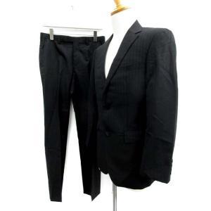 バーバリーブラックレーベル BURBERRY BLACK LABEL スーツ セットアップ 上下 ストライプ ジャケット パンツ 黒 /TK メンズ【中古】【ベクトル 古着】|vectorpremium