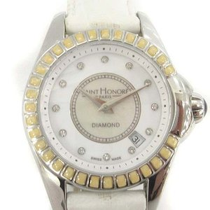 サントノーレ SAINT HONORE  腕時計 DIAMOND レザー 白 ホワイト 741031...