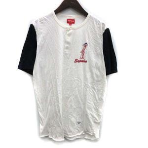 8c8d7a3e33b2 シュプリーム SUPREME Tシャツ カットソー 半袖 ヘンリーネック Pink Panther Henley M 白 紺 14SS /KH  ☆CA☆あ メンズ【中古】【ベクトル 古着】