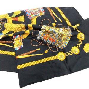 【中古】エルメス HERMES スカーフ カレ LES TAMBOURS シルク 黒 黄色 /☆G ...