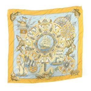 【中古】エルメス HERMES スカーフ カレ90 L'AIR MARIN 海風 水色 黄 /MF1...