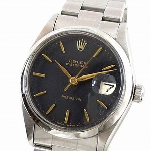 【中古】ロレックス ROLEX 腕時計 OYSTERDATE オイスターデイト Ref.6694 1967年製 手巻き 黒文字盤 リベットブレス ヴィンテージ メンズ 【ベクトル 古着】|vectorpremium