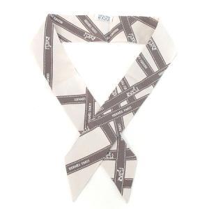 【中古】エルメス HERMES スカーフ ツイリー ボルデュック リボン シルク 061719S-04 グレー ☆AA★ レディース 【ベクトル 古着】 vectorpremium
