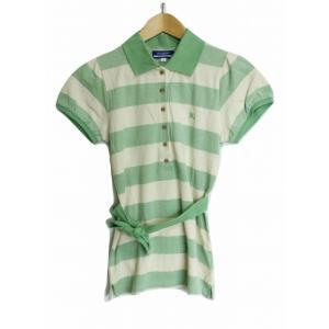 【中古】BURBERRY BLUE LABEL ボーダー ポロシャツ 半袖 38 緑×白 綿97% ...