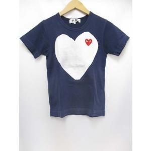 プレイコムデギャルソン PLAY COMME des GARCONS 半袖 Tシャツ 紺 赤ハートワッペン 白デカハートプリント 綿100% 日本製 レディース【中古】【ベクトル 古着】|vectorpremium
