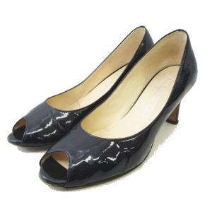 ヨシト YOSHITO オープントゥ パンプス シューズ 靴 パテントレザー サイズ23cm ネイビー レディース 【中古】【ベクトル 古着】|vectorpremium