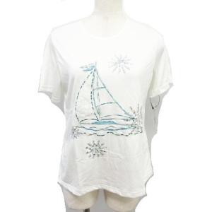 【中古】未使用品 Echo71/エコー Tシャツ ヨット刺繍 スパンコール 白 ホワイト 半袖 サイ...