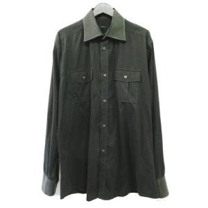 【中古】グッチ GUCCI ワイシャツ ドレスシャツ ダブル胸ポケット 長袖 サイズ40 15 4/...