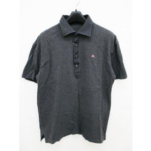 バーバリーブラックレーベル BURBERRY BLACK LABEL 国内正規 ポロシャツ 襟切替 ロゴ刺繍 グレー 半袖 3 TY304 メンズ【中古】【ベクトル 古着】|vectorpremium