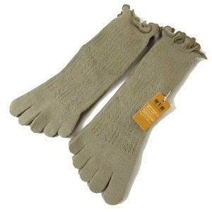 【中古】靴下屋 五本指 フリル ソックス 靴下 2足セット 新品含む ブラウンベージュ 190717...