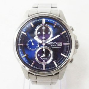 【中古】セイコー SEIKO クロノグラフ 腕時計 ウォッチ ソーラー V172-0AA0 ブルー文...