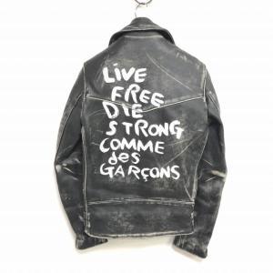【中古】COMME des GARCONS × Lewis Leathers 青山限定 ライトニング タイトフィット ライダースジャケット ペイント ダメージ加工 黒 ブラック 32 KJ-J009|vectorpremium