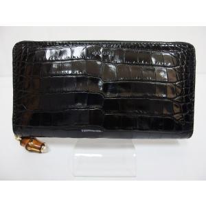 65df73daf177 美品 グッチ GUCCI ニムフェア 453158 長財布 クロコダイル ワニ革 黒ブラック レディ.