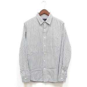 グローバルワーク GLOBAL WORK シャツ 長袖 ストライプ 胸ポケット コットン 綿 シンプル M ホワイト グレー 白 灰 /KT メンズ【中古】【ベクトル 古着】