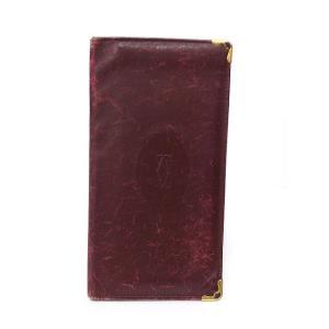 カルティエ Cartier 長財布 札入れ マストライン 二つ折り カーフレザー ボルドー 赤 /K メンズ【中古】【ベクトル 古着】|vectorpremium