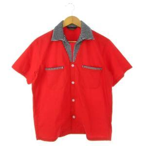 ナナマルロクユニオン 706union オープンカラーシャツ 半袖 トップス ロカビリー 赤 レッド...