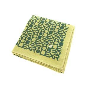 【中古】ロレックス ROLEX ハンカチ ロゴ スクエア 刺繍 ベージュ グリーン メンズ 【ベクトル 古着】|vectorpremium