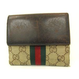 25a422cd07d6 グッチ GUCCI 財布 二つ折り 小銭入れあり シェリーライン GGキャンバス レザー かぶせ フ.