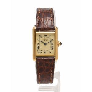 カルティエ Cartier 腕時計 マストタンク ヴェルメイユ ゴールド 茶色 クオーツ SV925 GP レザー 5057001 レディース【中古】【ベクトル 古着】|vectorpremium