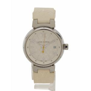 ルイヴィトン LOUIS VUITTON 腕時計 タンブールホログラム ストラップ 白 ホワイト シルバー クオーツ SS ラバー Q1313 箱 ケース付き レディース|vectorpremium