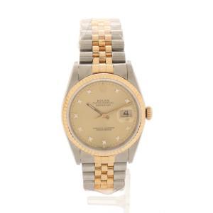 ロレックス ROLEX 腕時計 デイトジャスト 自動巻き シルバー イエローゴールド 16233G SS K18YG 10Pダイヤ シャンパン文字盤 メンズ【中古】【ベクトル 古着】|vectorpremium