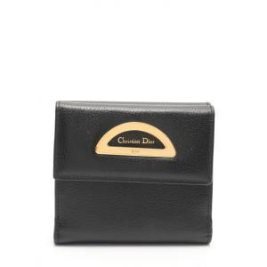 f2b1d6eb9efd クリスチャンディオール Christian Dior 三つ折り財布 黒 小物 レザー レディース 【中古】【ベクトル 古着】