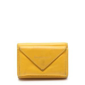 【中古】バレンシアガ BALENCIAGA 三つ折り財布 ペーパーミニウォレット 黄 小物 レザー 391446 レディース 【ベクトル 古着】|vectorpremium