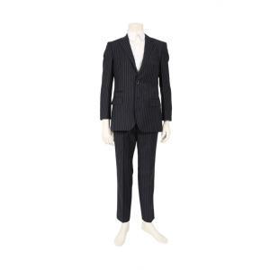 【中古】ヒューゴボス HUGO BOSS スーツ ジャケット パンツ ネイビー 白 46 ストライプ...