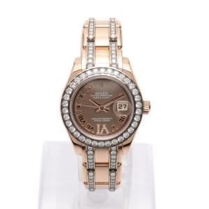 【中古】ロレックス ROLEX 腕時計 デイトジャスト パールマスター レディース エバーローズゴールド 80285 K18RG ダイヤモンド ロータスフラワー文字盤|vectorpremium