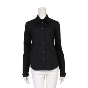 【中古】プラダ PRADA シャツ 黒 42 トップス 長袖 装飾 コットン ストレッチ ビーズ装飾...