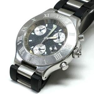 カルティエ Cartier 2424 マスト21 クロノスカフ クオーツ 腕時計 ウォッチ ブラック文字盤/シルバー 黒 銀 純正ブレス SSAW メンズ【中古】【ベクトル 古着】 vectorpremium
