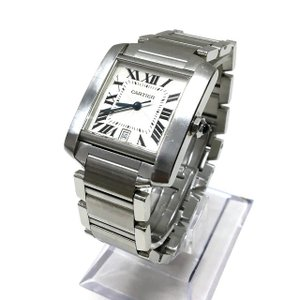カルティエ Cartier タンクフランセーズ LM W51002Q3 自動巻き 腕時計 ウォッチ シルバー 銀 SSAW メンズ【中古】【ベクトル 古着】
