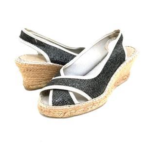 カンナ KANNA ウェッジサンダル エスパンドリーユ 靴 37 ブラック/シルバー 黒 銀 春夏  レディース【中古】【ベクトル 古着】|vectorpremium