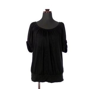 【中古】スリードッツ three dots ギャザー Tシャツ カットソー 半袖 S ブラック 黒 ...