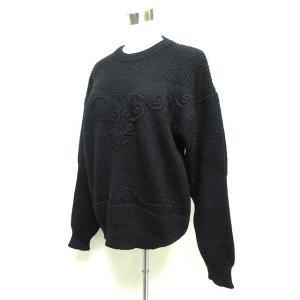 NIBULIN UOMO ニット セーター ゆったり 長袖 ウール M ブラック hk6193 レディース【中古】【ベクトル 古着】