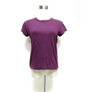 アニエスベー agnes b. Tシャツ カットソー 半袖 シンプルデザイン コットン パープル 2 yt0621 レディース【中古】【ベクトル 古着】