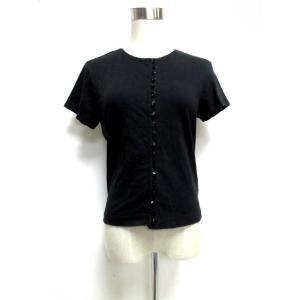 アニエスベー agnes b. シャツ ブラウス 半袖 シンプルデザイン ブラック コットン 2 yt0625 レディース【中古】【ベクトル 古着】