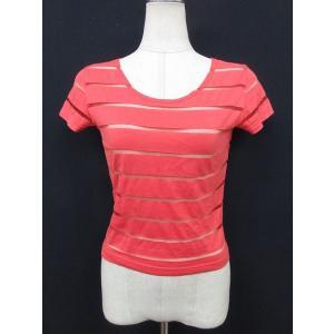 アニエスベー agnes b. Tシャツ カットソー 半袖 コットン 1 ボーダー レッド 赤系 TM17170 レディース【中古】【ベクトル 古着】