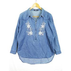 【中古】AZUL PRIMERA プル デニムワイドシャツ ハーフジップ 刺繍 M ブルーsa724...